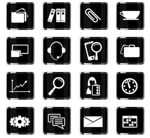 Ícones de vetor de escritório para design de interface de usuário
