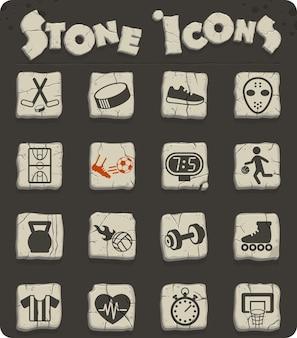 Ícones de vetor de esporte em blocos de pedra no estilo da idade da pedra para web e design de interface de usuário