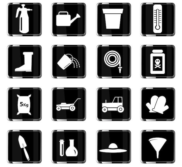 Ícones de vetor de ferramentas de jardim para design de interface de usuário