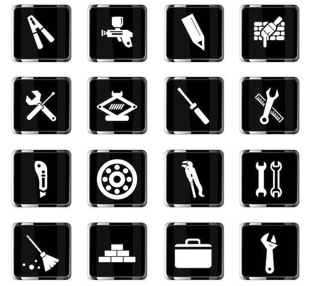 Ícones de vetor de ferramentas de trabalho para design de interface de usuário