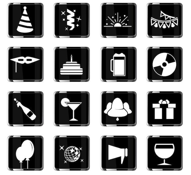 Ícones de vetor de festa para design de interface de usuário