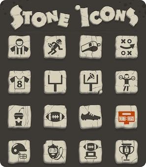 Ícones de vetor de futebol americano em blocos de pedra no estilo da idade da pedra para web e design de interface de usuário