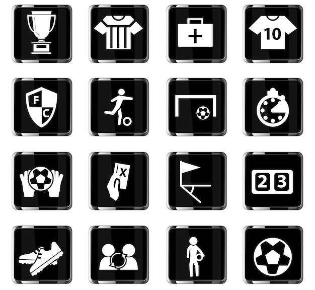 Ícones de vetor de futebol para design de interface de usuário