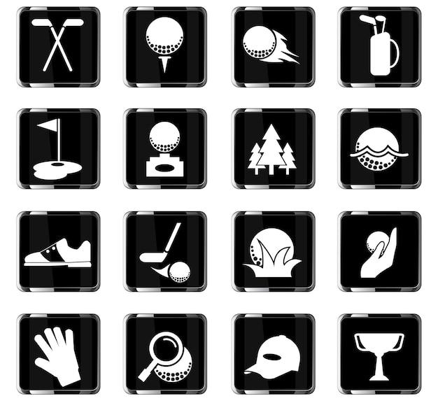 Ícones de vetor de golfe para design de interface de usuário
