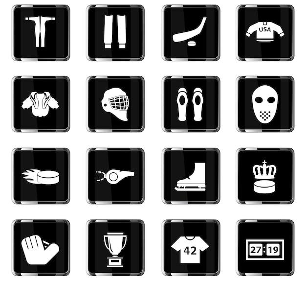Ícones de vetor de hóquei para design de interface de usuário