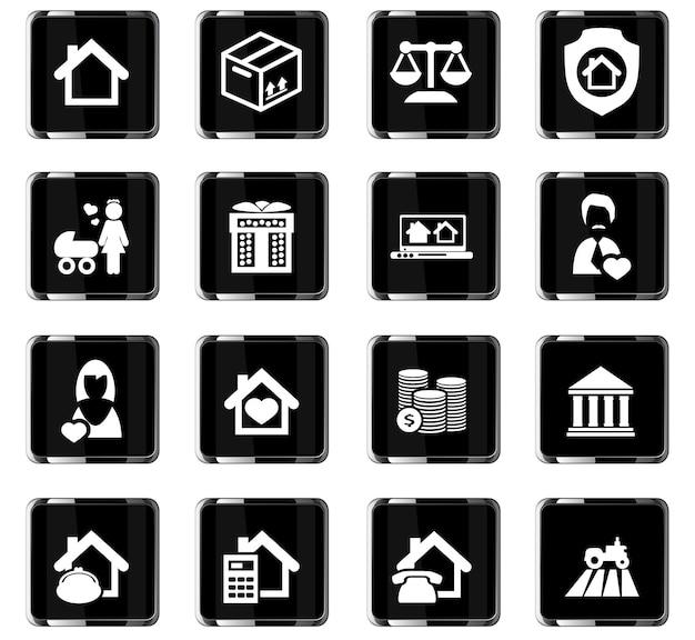 Ícones de vetor de imóveis para design de interface de usuário