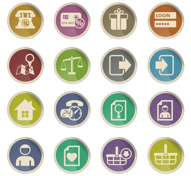 Ícones de vetor de interface de comércio eletrônico na forma de etiquetas de papel redondas