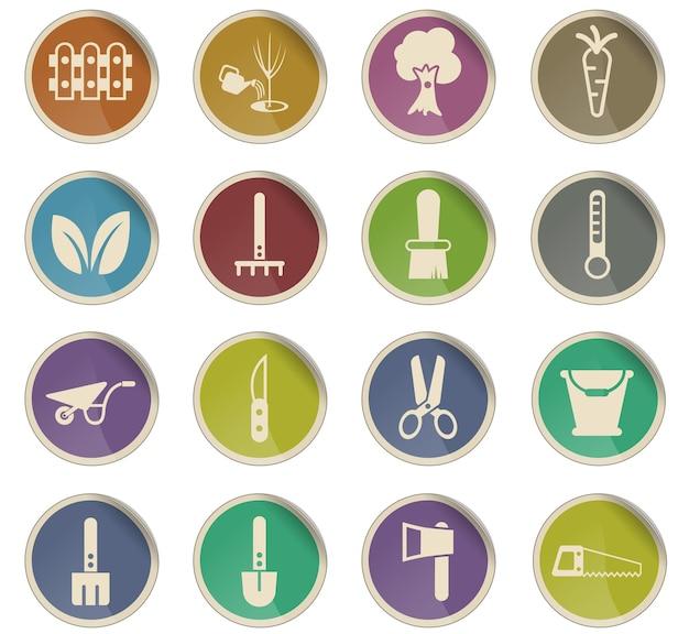 Ícones de vetor de jardinagem na forma de etiquetas de papel redondas