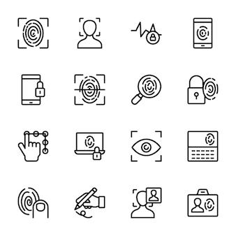 Ícones de vetor de linha biométrica