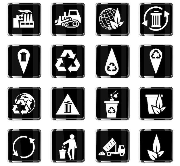 Ícones de vetor de lixo para design de interface de usuário