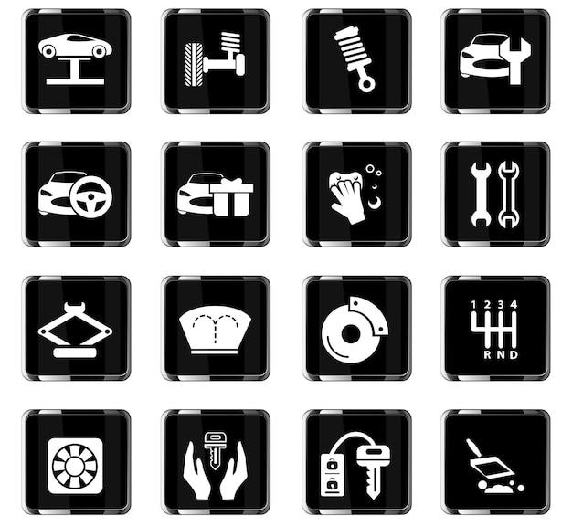 Ícones de vetor de loja de carros para design de interface de usuário