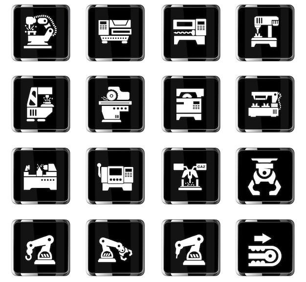 Ícones de vetor de máquinas-ferramenta para design de interface de usuário