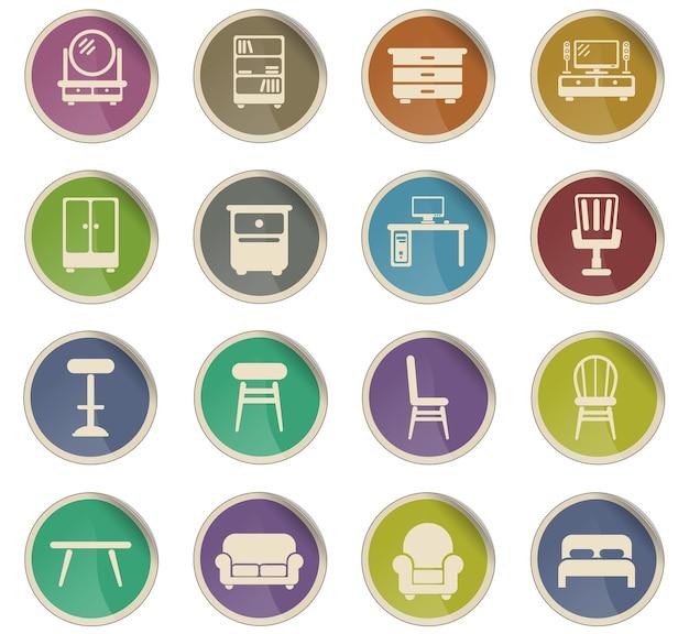 Ícones de vetor de móveis na forma de etiquetas redondas de papel
