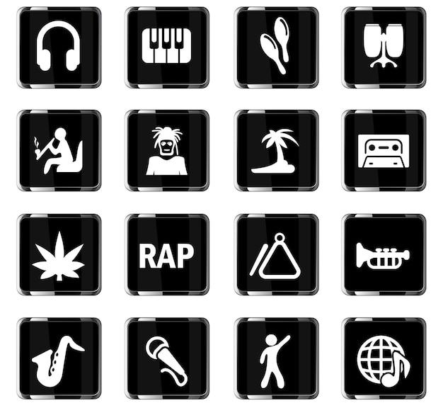 Ícones de vetor de música para design de interface de usuário