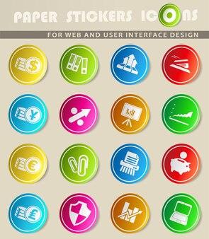 Ícones de vetor de negócios e finanças em adesivos de papel colorido