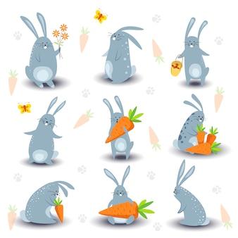 Ícones de vetor de personagens de coelho coelho dos desenhos animados para a páscoa, livro de crianças ou modelo de design de conto de fadas