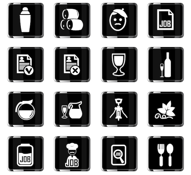 Ícones de vetor de pesquisa de emprego para design de interface de usuário