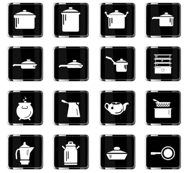 Ícones de vetor de pratos para design de interface de usuário