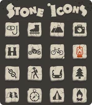 Ícones de vetor de recreação ativa em blocos de pedra no estilo da idade da pedra para web e design de interface de usuário