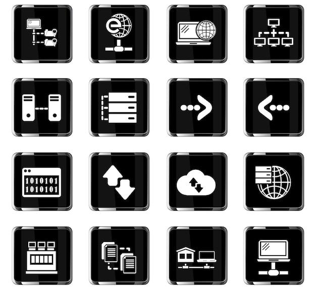 Ícones de vetor de servidor para design de interface de usuário