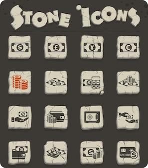 Ícones de vetor de símbolos de dinheiro para web e design de interface de usuário
