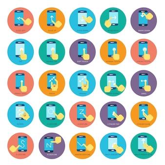 Ícones de vetor de telefones inteligentes plana de gesto