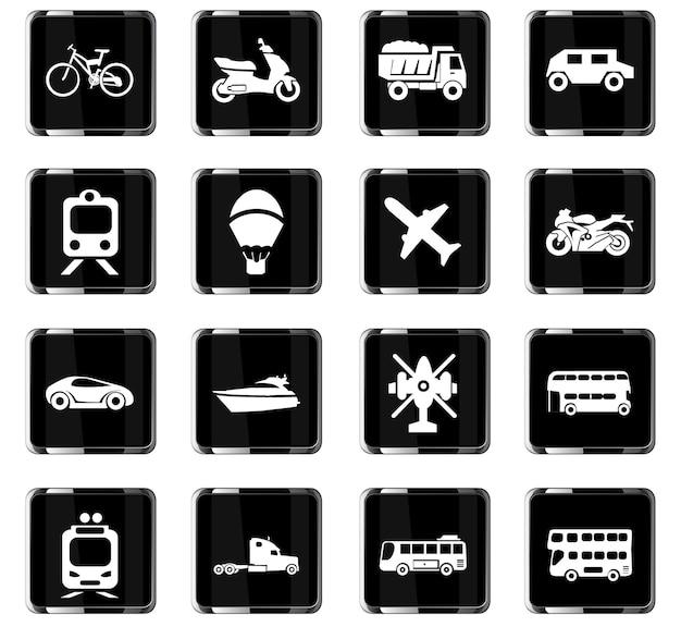 Ícones de vetor de tipos de transporte para design de interface de usuário