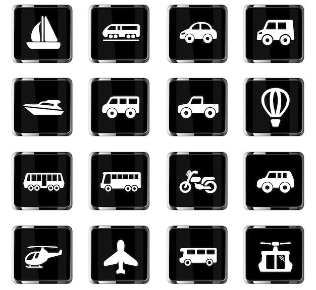 Ícones de vetor de transporte para design de interface de usuário