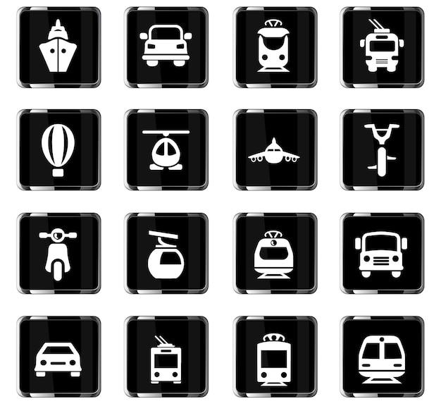 Ícones de vetor de transporte para design de interface de usuário Vetor Premium
