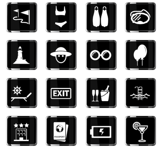 Ícones de vetor de viagens para design de interface de usuário