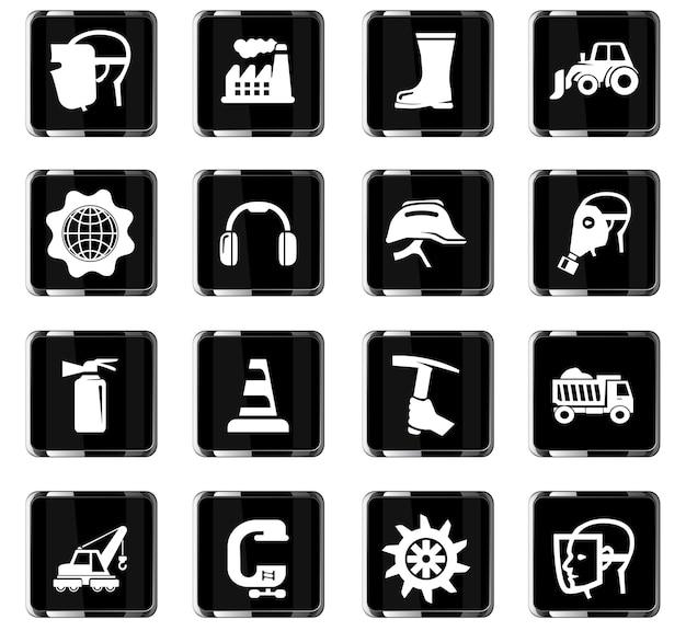 Ícones de vetor industrial para design de interface de usuário