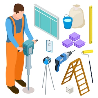 Ícones de vetor isométrico de ferramentas de construtor e construção
