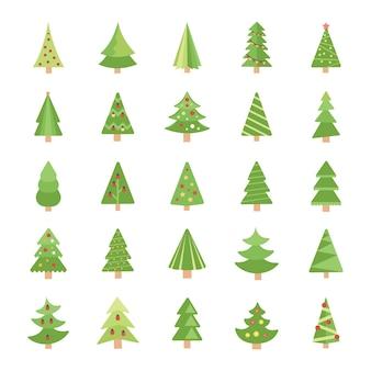 Ícones de vetor plana de árvores de natal