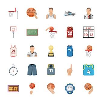 Ícones de vetor plana de basquete