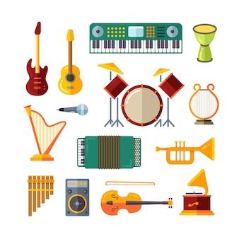 Ícones de vetor plana de instrumento de música