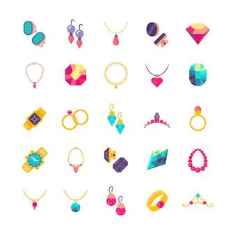 Ícones de vetor plana de jóias de luxo
