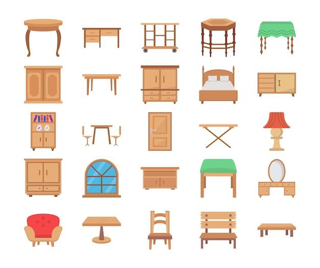 Ícones de vetor plana de móveis de madeira