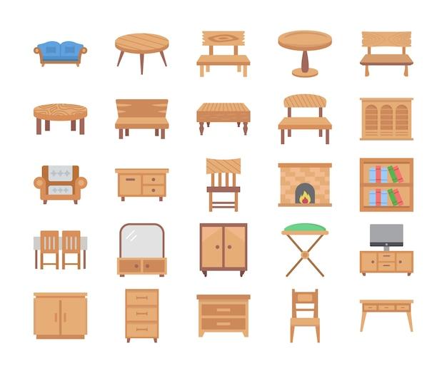 Ícones de vetor plana de móveis