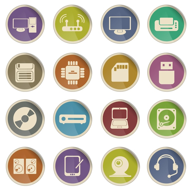 Ícones de vetor simples de equipamentos de informática