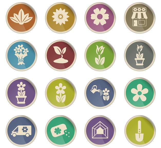 Ícones de vetores de flores na forma de etiquetas de papel redondas