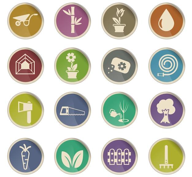 Ícones de vetores de plantas na forma de etiquetas de papel redondas