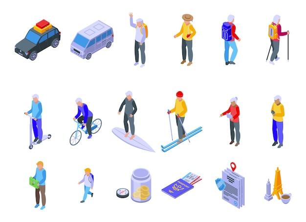 Ícones de viagens de aposentadoria definem vetor isométrico. seguro de segurança. vida saudável