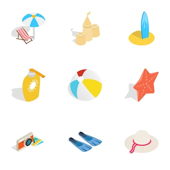 Ícones de viagens de verão, estilo 3d isométrico