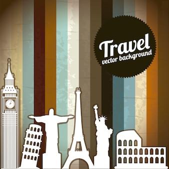 Ícones de viagens e silhueta