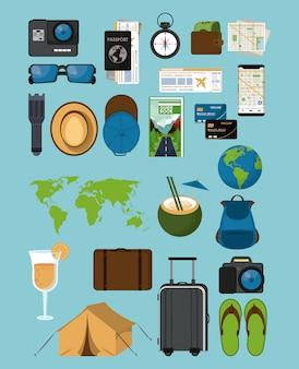 Ícones de viagens e turismo