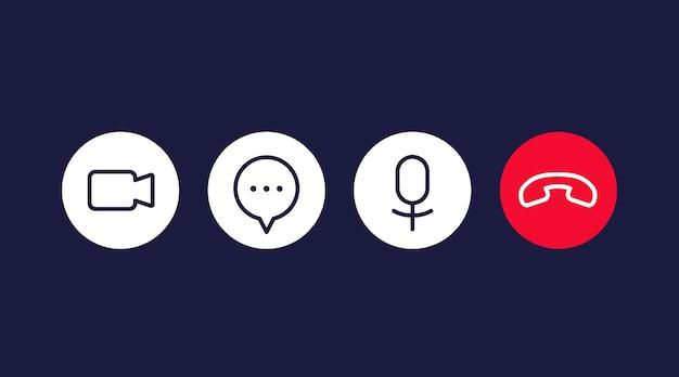 Ícones de videochamada para interface, vetor de linha