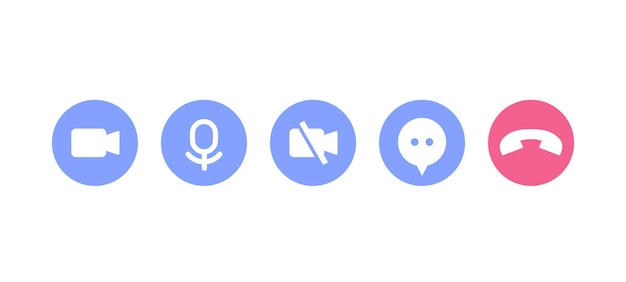 Ícones de videochamada para interface
