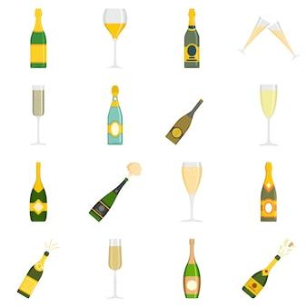 Ícones de vidro de garrafa de champanhe defina vetor isolado