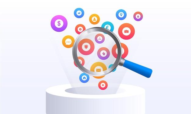 Ícones de web plana voadores ícones de linha de vetor em design plano com elementos para conceitos móveis e web