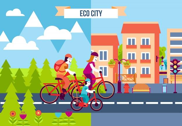 Ícones decorativos de cidade de eco